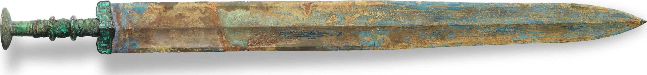 Épée incrustée de turquoise en bronze, jian, époque des Royaumes combattants