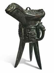 Jue et couvercle en bronze archaïsant, dynastie Qing