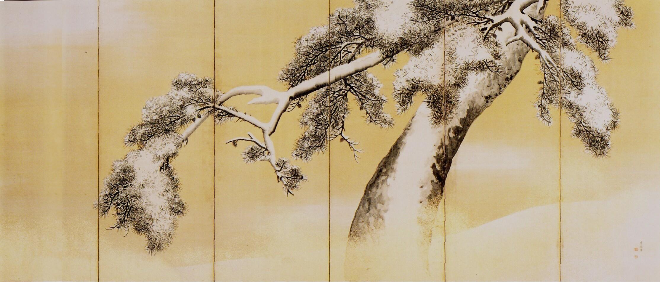 Pins sous la neige, paravent droit, 1766 , encre, couleurs et poudre d'or sur papier, Maruyama Okyo