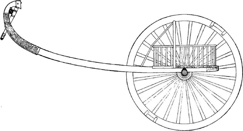 Reconstruction d'un char de la période des Zhou occidentaux, vue latérale