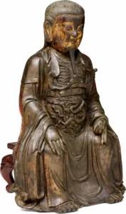 Une figure en bronze laqué doré de Zhenwu, fonte, dynastie Ming