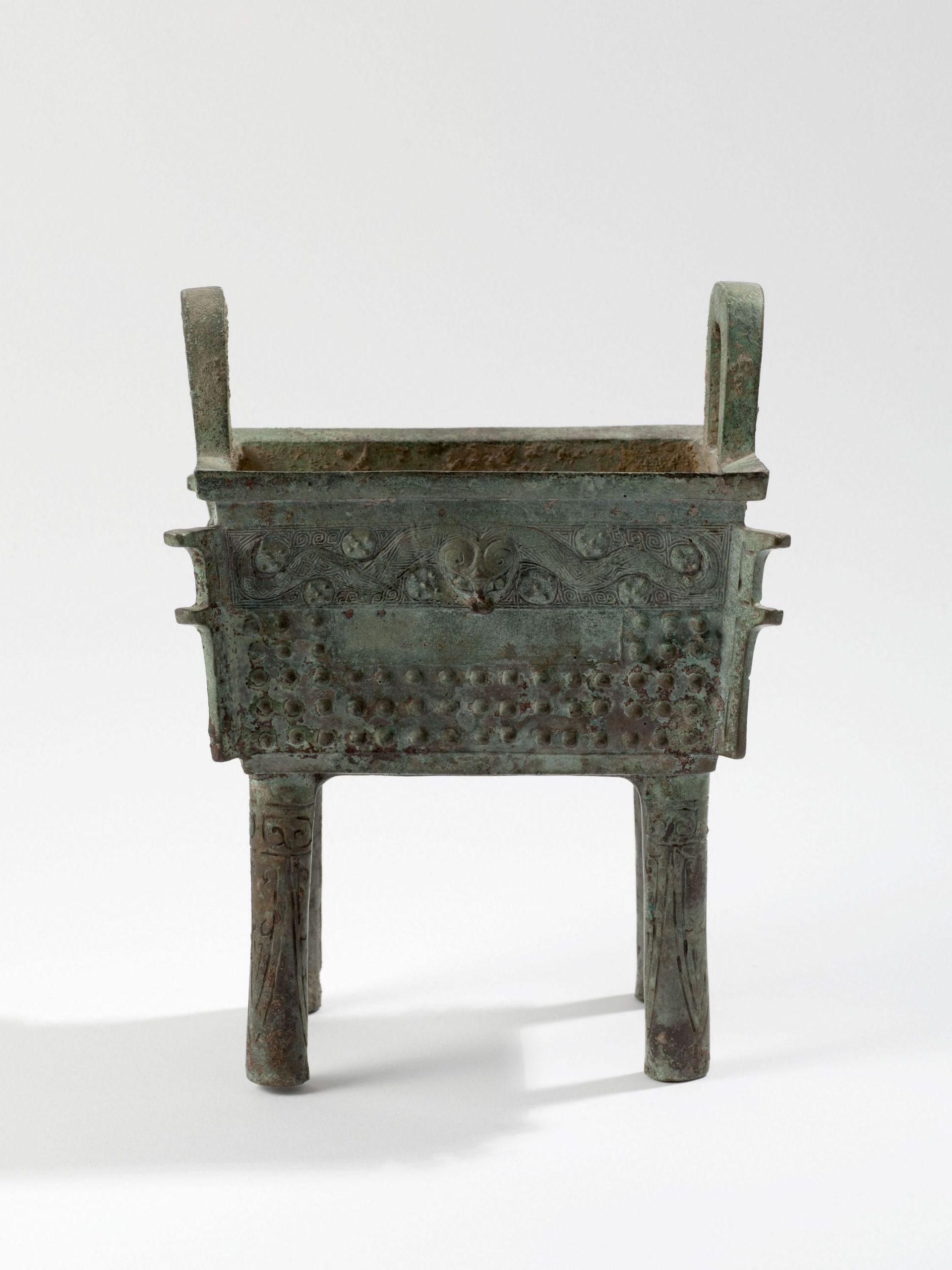 Vase ding 鼎, bronze, fonte au moule, entre -1300 et -1050