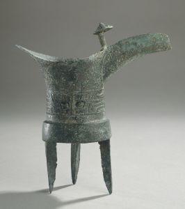 Vase jue en bronze, fonte au moule, entre -1550 et -1300