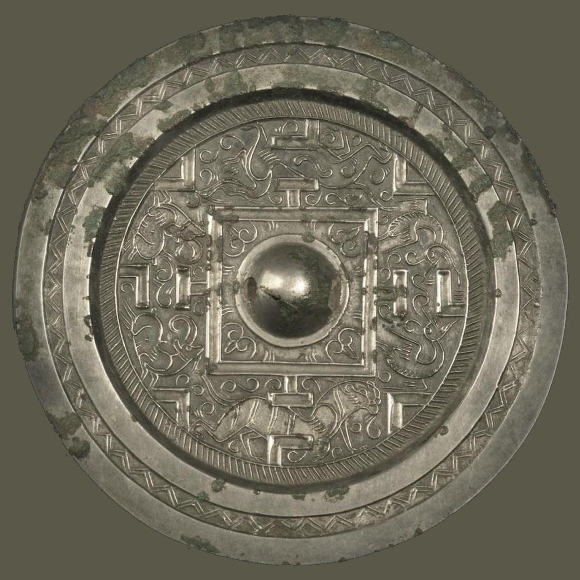 Miroir de type TLV, alliage cuivreux à teneur en argent, dynastie des Han Orientaux
