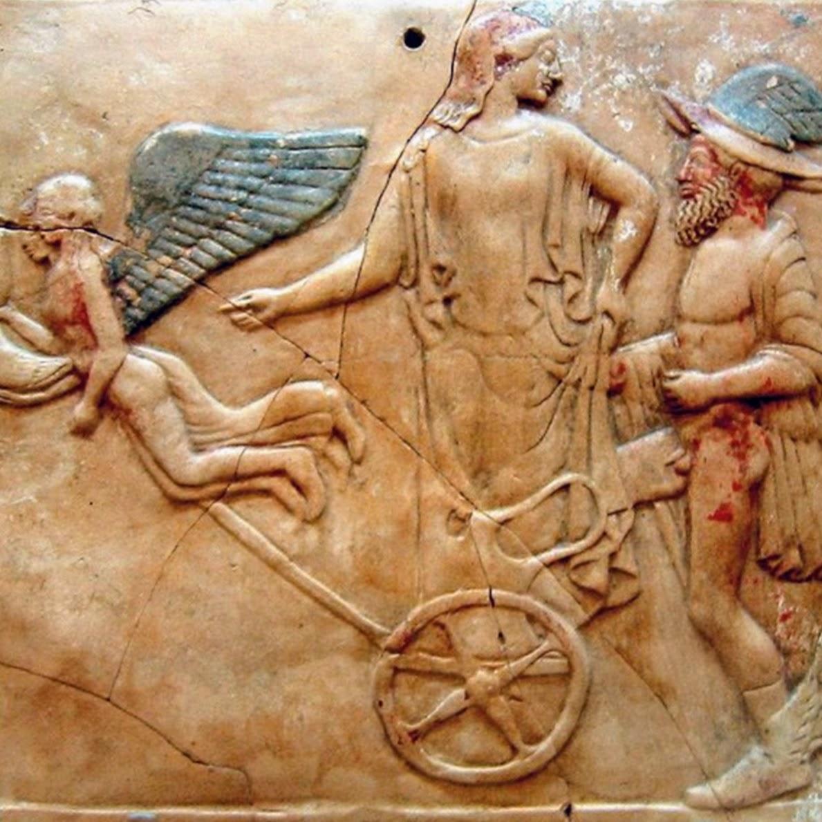 Représentation d'Éros, d'Hermès et de Perséphone
