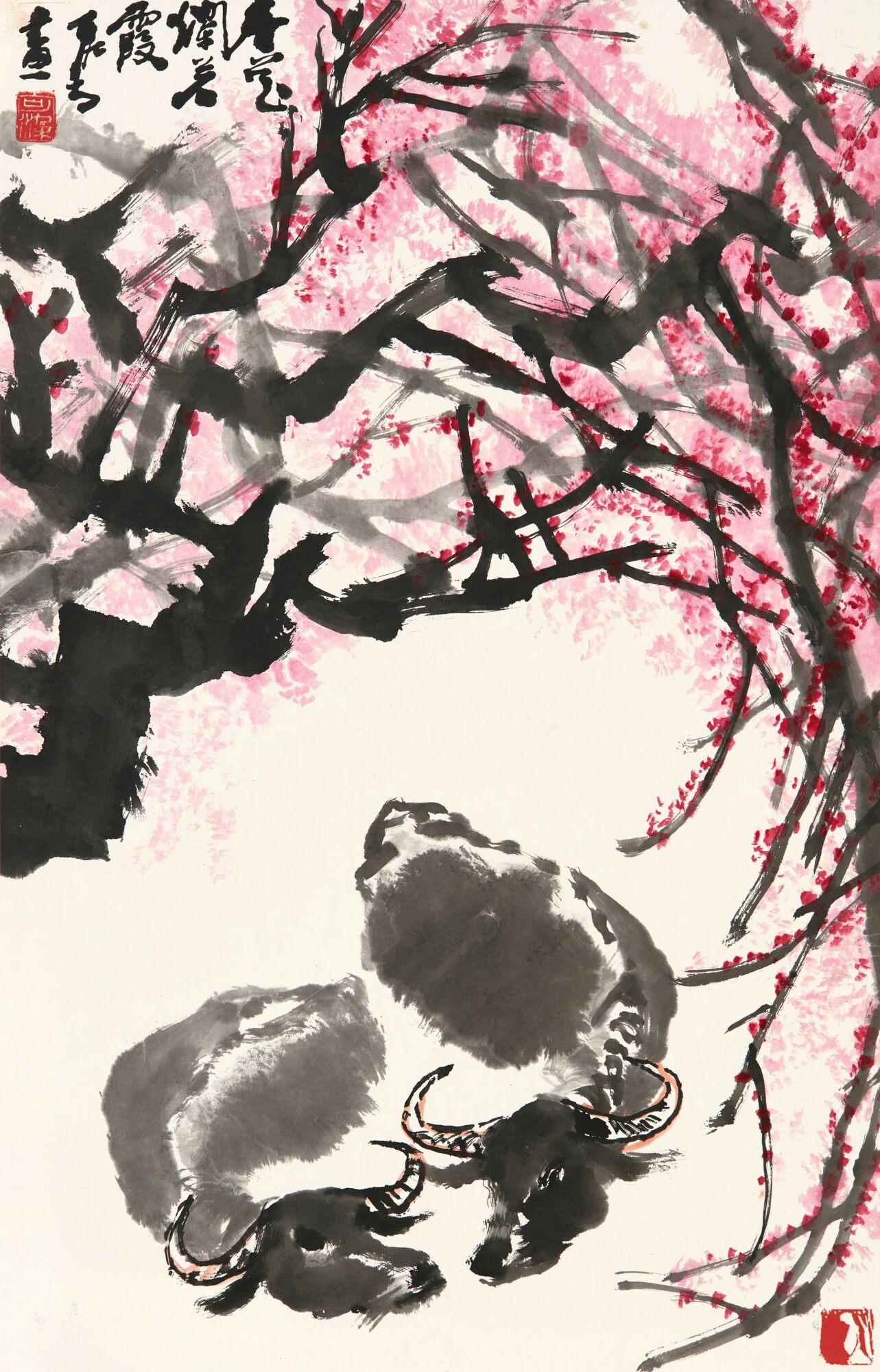 Baignade de buffles sous les fleurs printanières, encre et couleur sur papier, rouleau suspendu, Li Keran (1907-1989)