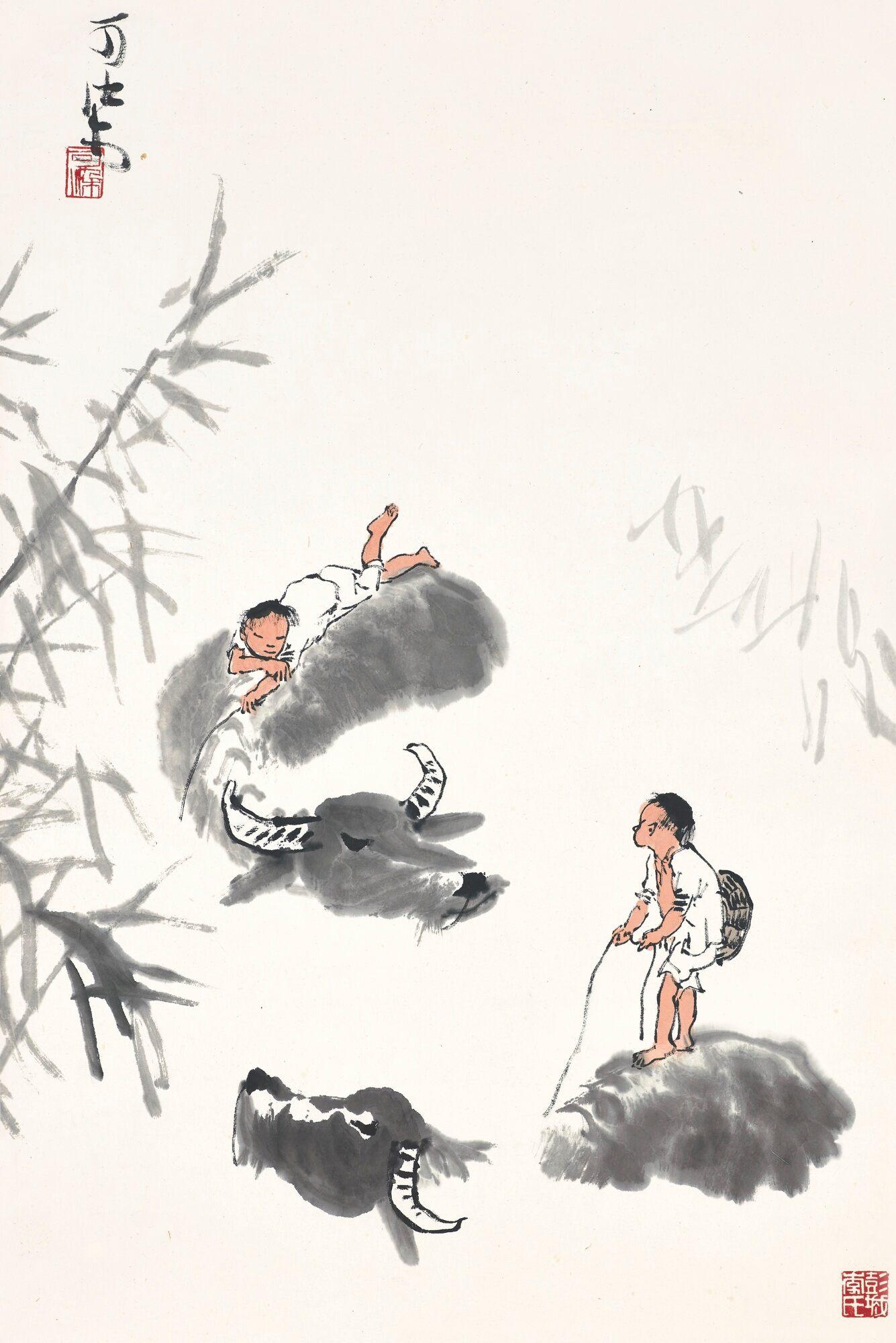 Buffles dans l'étang, encre et couleur sur papier, rouleau suspendu, Li Keran