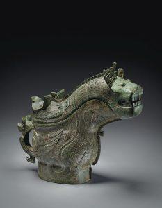 Récipient à vin rituel en bronze et couvercle, gong, fin de la dynastie Shang