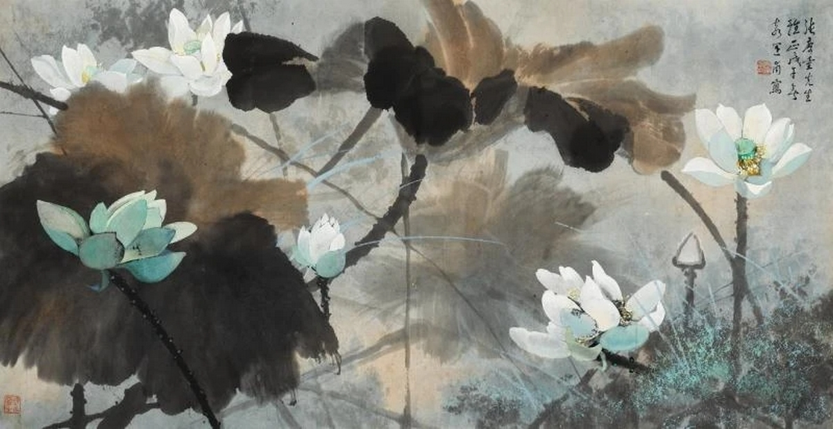 Lotus blanc, 1978, encre et couleur sur papier, Yuan Yunfu