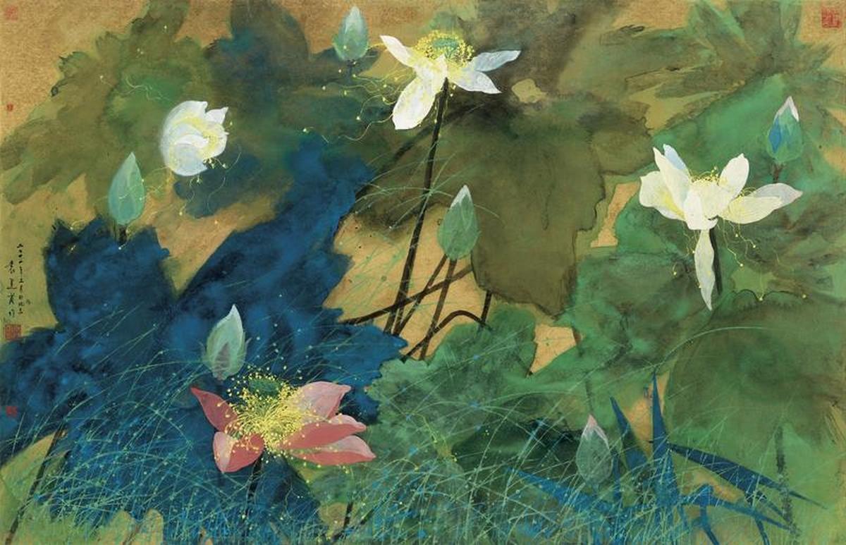 Parfum de Lotus, peinture à l'encre de couleur sur papier centenaire, Yuan Yunfu