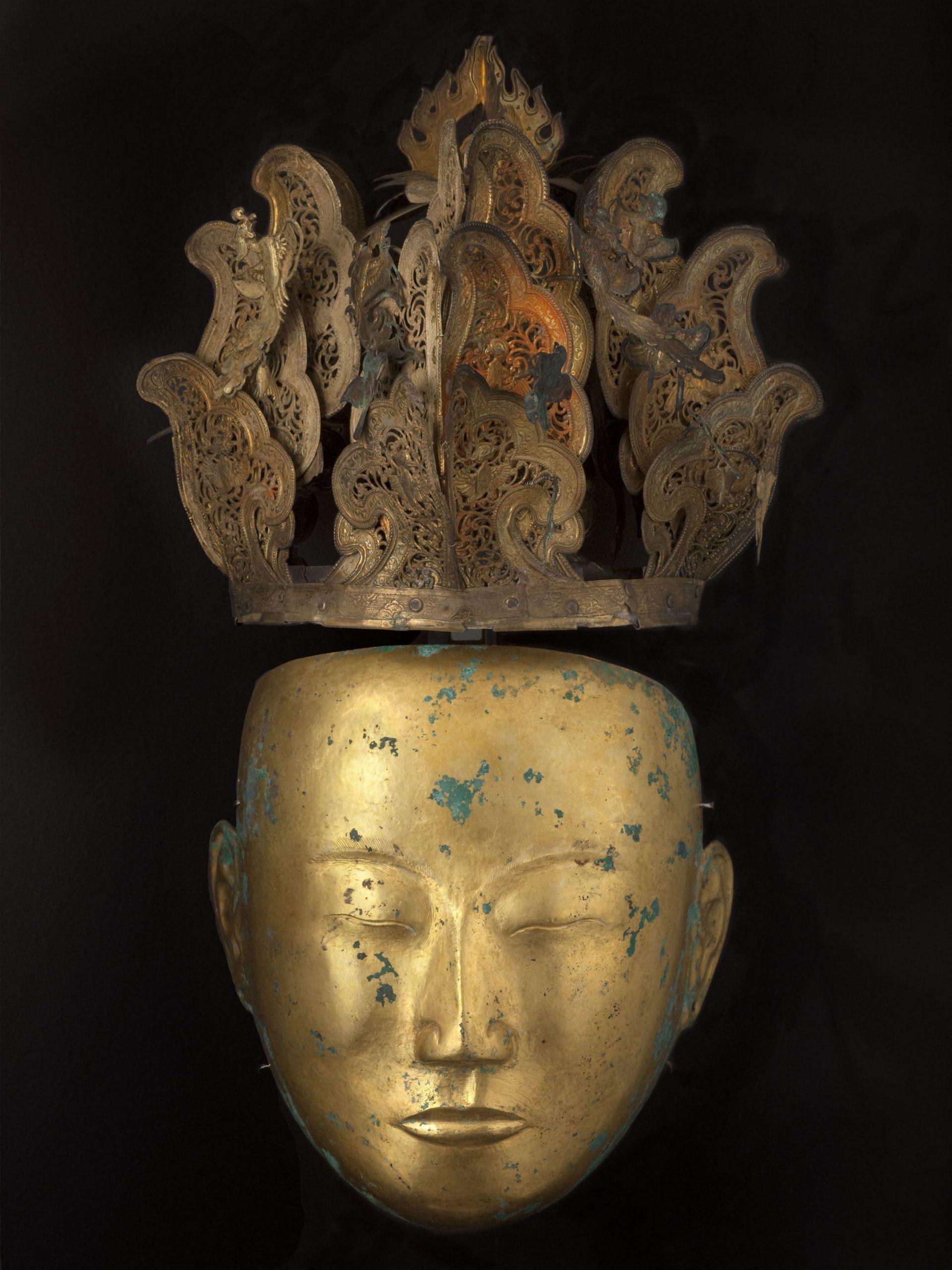 Masque funéraire, bronze, dorure, dynastie des Liao