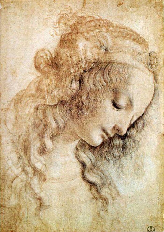 Tête de femme par Leonard de Vinci
