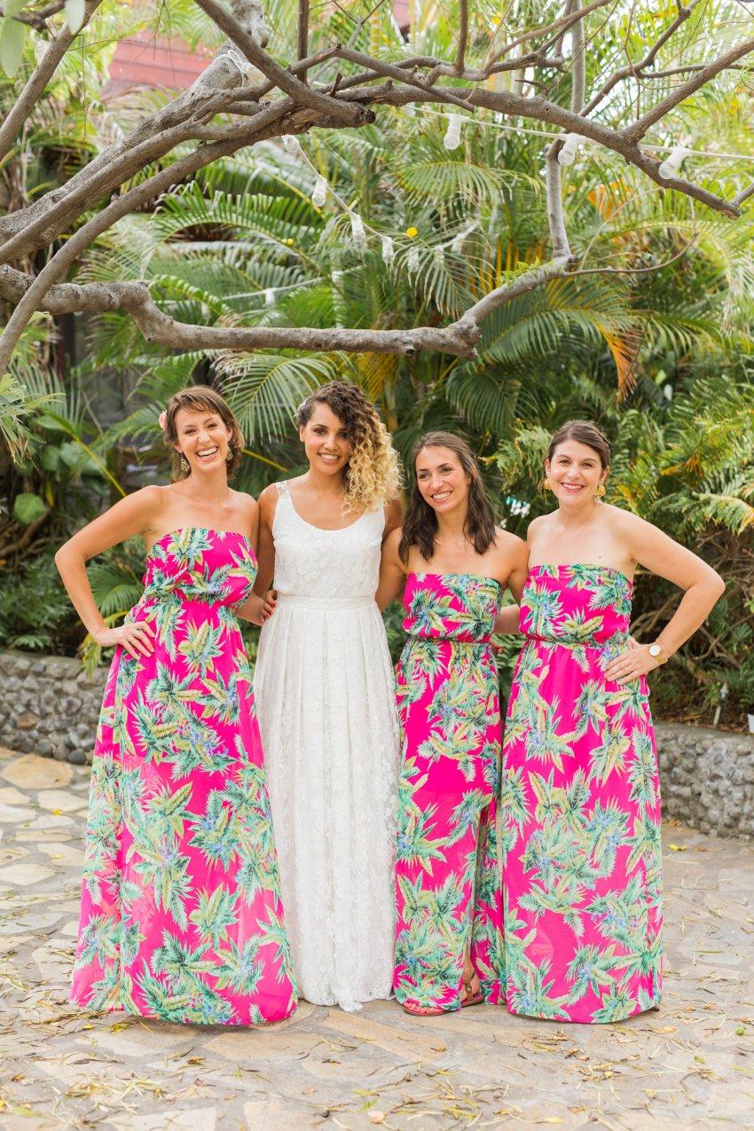 Des robes de demoiselles d'honneur pour un mariage tropical