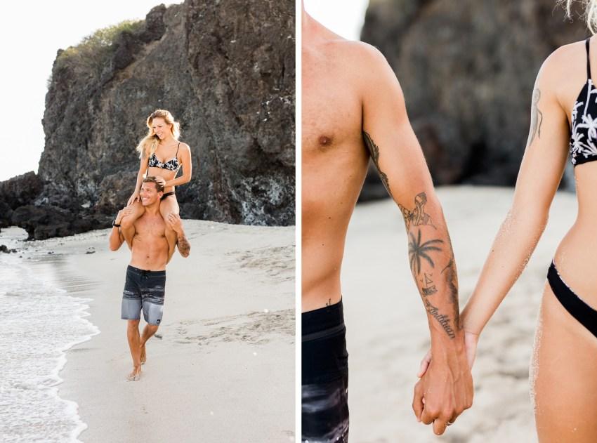 Shooting couple sur une plage de l'île de la Réunion