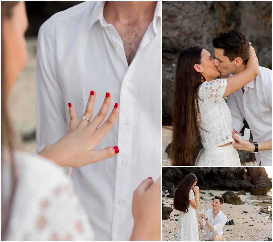 photos d'une demande en mariage sur la plage
