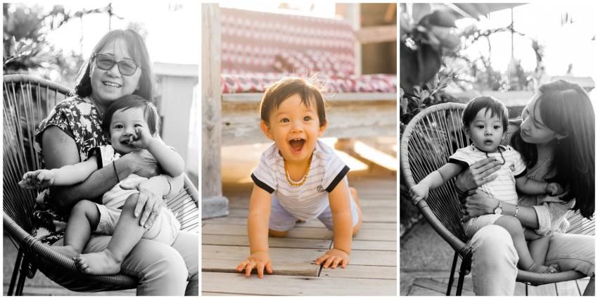 Un petit garçon joyeux lors de sa séance famille