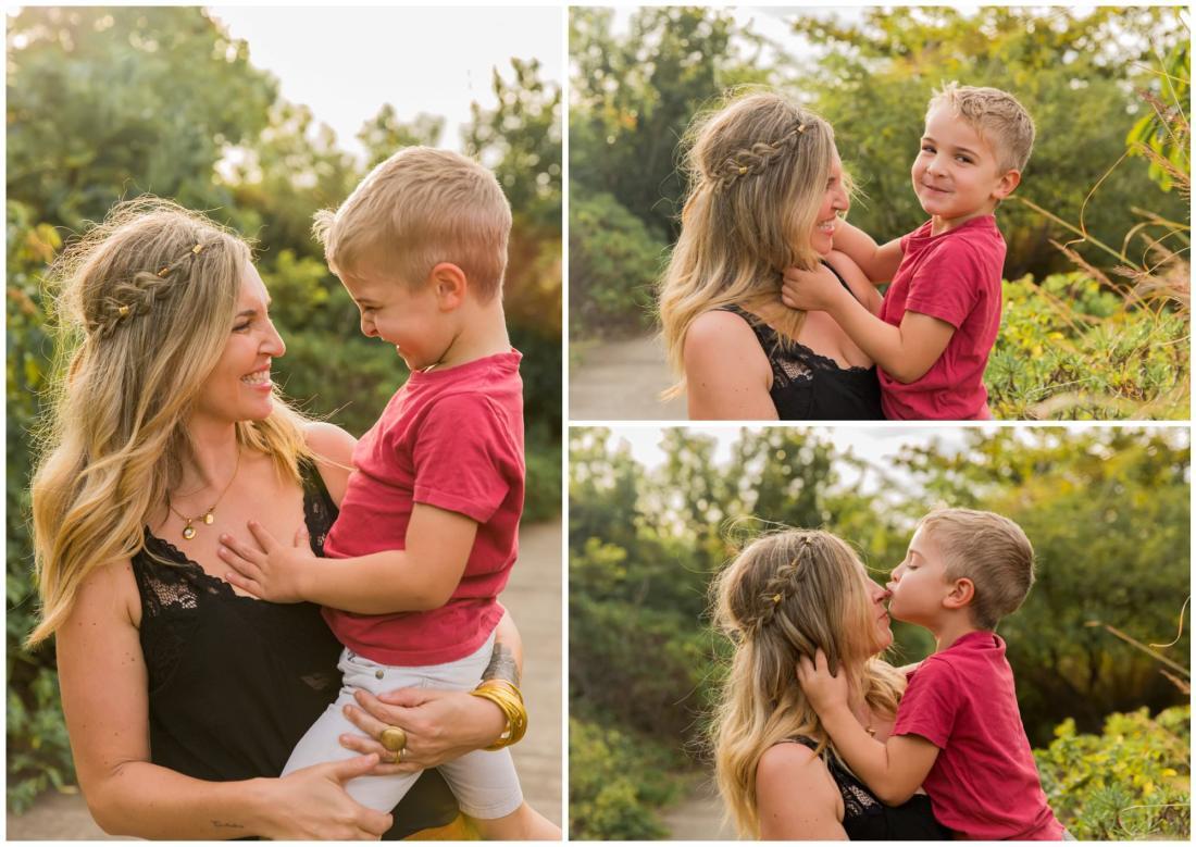 Une maman et son fils lors d'un shooting famille