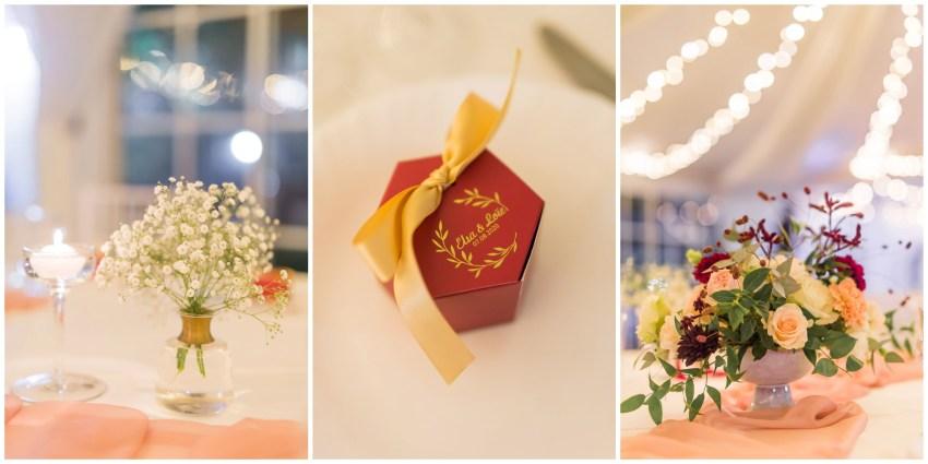 Décoration de mariage au domaine des mille cocos rose, doré et marsala