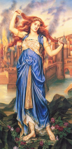 Photo of the painting Cassandra by Evelyn de Morgan which evokes the story of Troy. Standing in front of the burning city in a rich blue dress, her arms raised, Cassandra tugs on her long red hair as if her desperation would pull her head in two opposing directions.