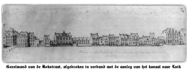 Bokstraat (Gevelwand)afgebrok.1849 i.v.m.aanleg kan.Mstr.-Lu