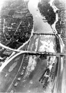 Luchtfoto 1 bouw Wilheminabrug ±1932-33