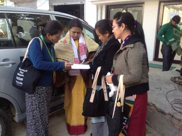 TIbetan women with Ms. Meenakshee Lakhi