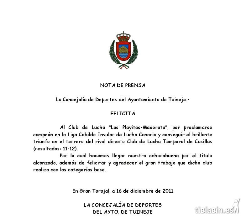 Felicitación al C.L. Las Playitas Maxorata