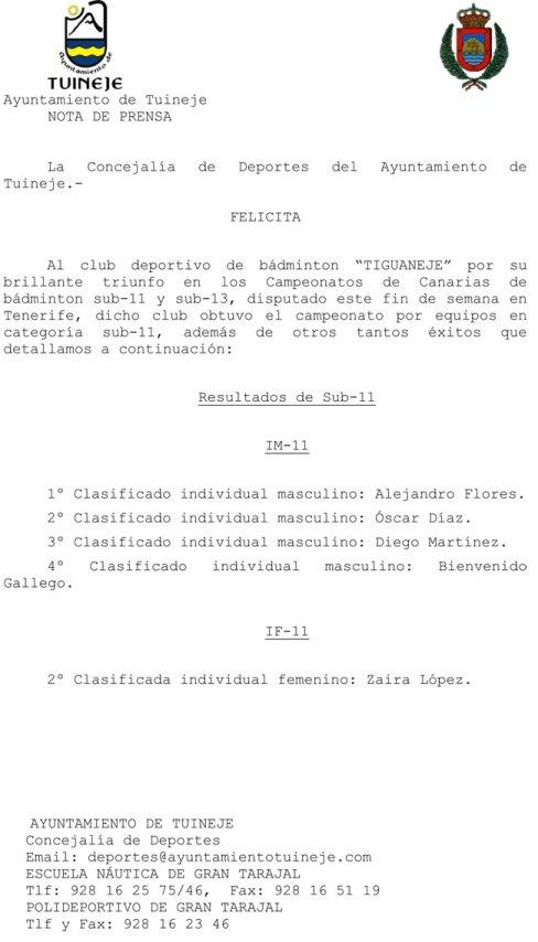 Felicitación del Ayto. Tuineje al C.D. Tiguanaje