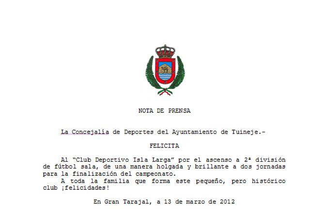 Felicitación: C.D. Isla Larga