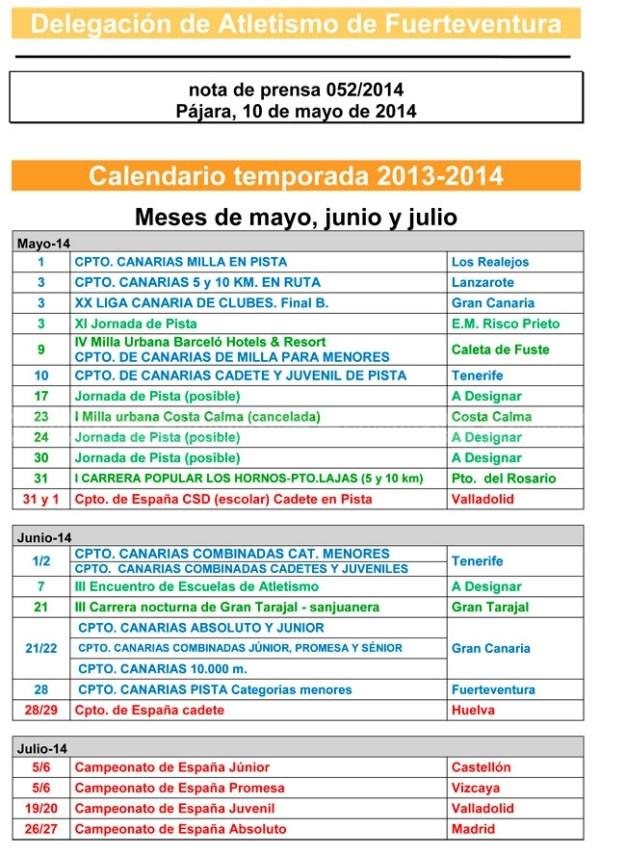 Calendario de atletismo de Fuerteventura (mayo y junio)