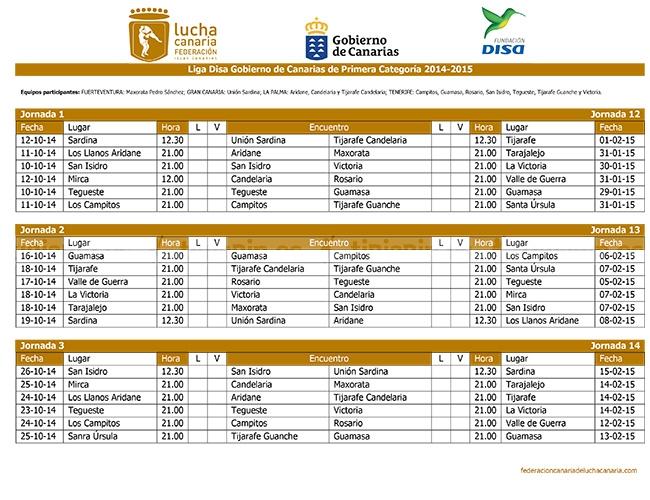 Calendario Liga 1ª categoría (Lucha Canaria)