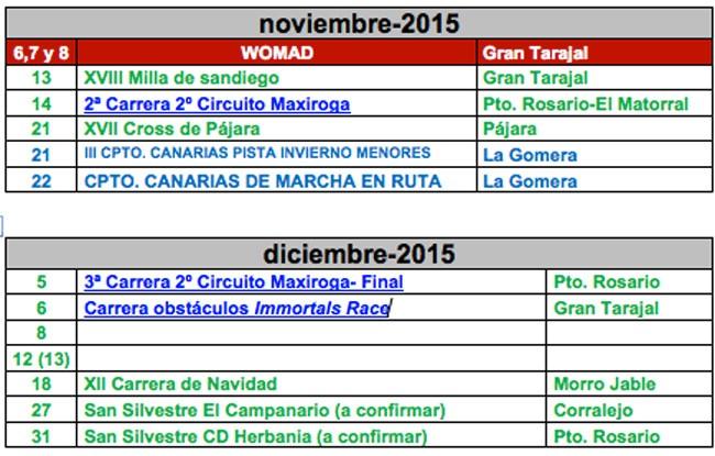 Calendario Atletismo (Noviembre y diciembre)