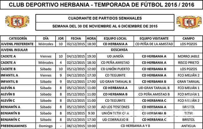 Cuadrante C.D. Herbania- Temporada Fútbol 2015-2016
