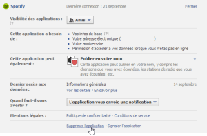 Facebook — Nettoyer vos applications — Supprimer l'application
