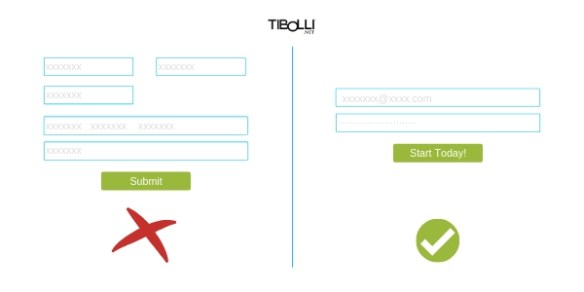 use small input forms on landing pages