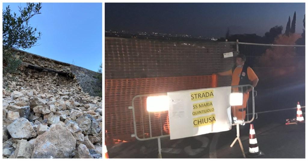 TIVOLI- Strada di Quintiliolo chiusa, dopo due mesi il muro è ancora da rifare