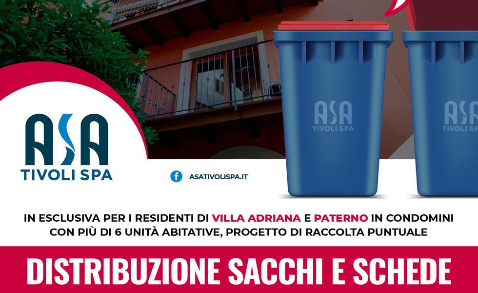 Per i residenti di Villa Adriana e Paterno la distribuzione di sacchi e schede per la raccolta porta a porta prosegue all'Isola Ecologica de La Prece