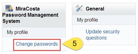 Change Passwords Link
