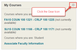 Gear Icon in My Courses Module