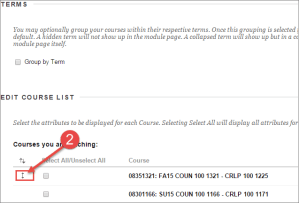 Edit Course List Order in Blackboard