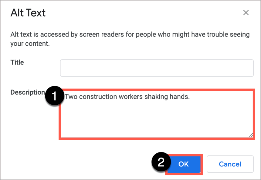 """In the Google Docs Alt Text window, write the alt text in the Description box.  In this case the alt text is, """"Two construction workers shaking hands."""""""
