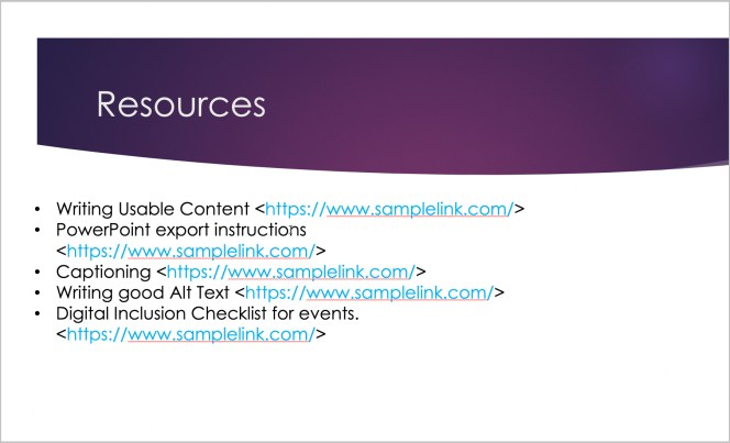 PowerPoint slide showing resource hyperlinks, with the full URLs visible.