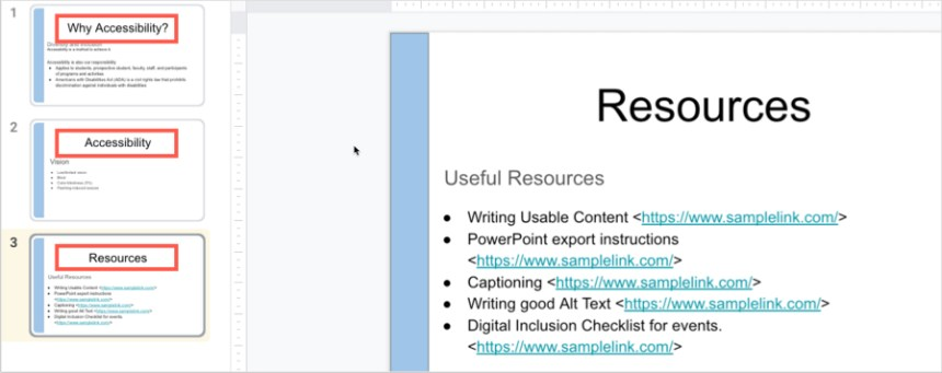 In Google Slides, each slide title should be unique.