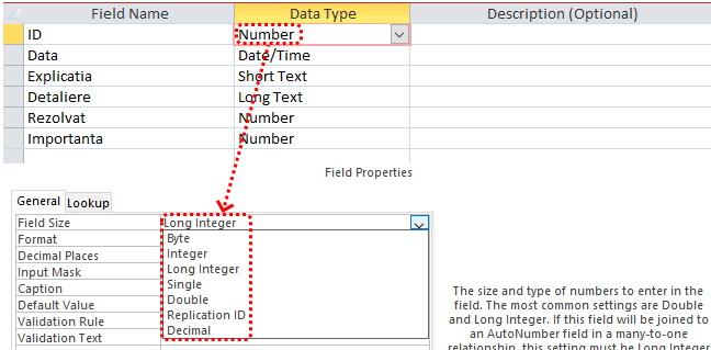 Dimensiunea câmpului numeric la datele Access