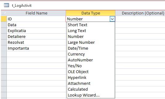 Tipuri de date pentru baze de date Access