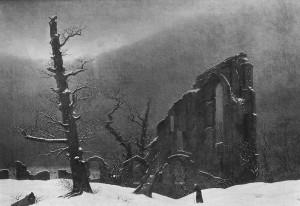 Monje en la nieve de Caspar David Friedrich