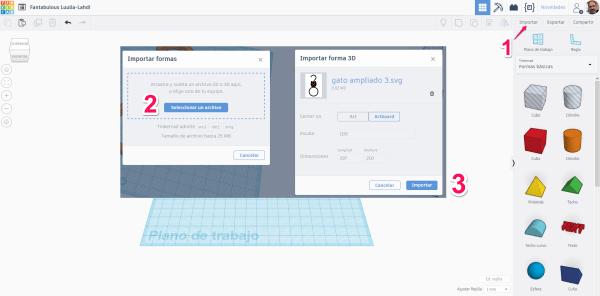 Pasos a realizar en Tinkercad para importar un archivo SVG.