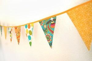 Banderola estampados florales en amarillo y turquesa