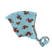 Gorrito para bebé de ardillas en marrón y azul