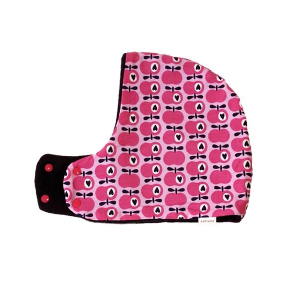Gorro bufanda con estampado de manzanas en rosa fucisa